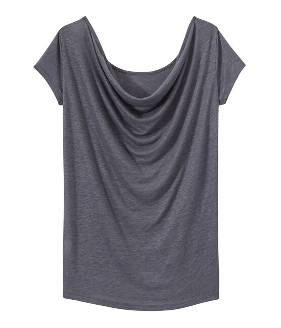 Women's iridescent linen tee with cowl neck at the back Maki grey / Argent grey