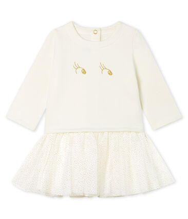 Baby Girls' Long-Sleeved Dual Material Dress Marshmallow Cn white