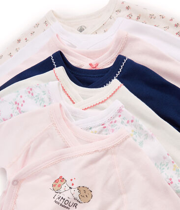 Surprise pack of 7 long-sleeved bodysuits for newborn baby girls