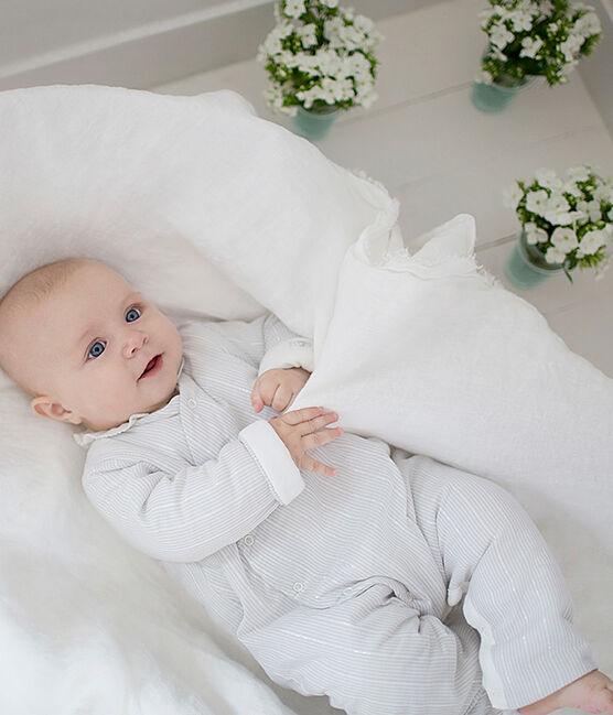 Baby boys' striped long jumpsuit Marshmallow white / Perlin beige