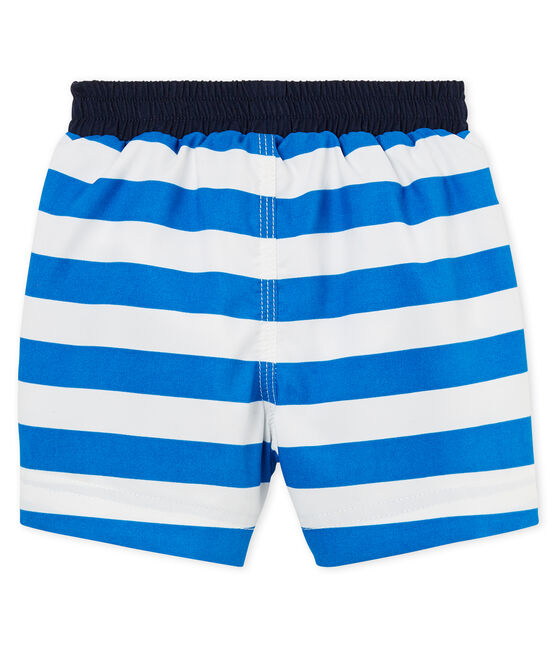 Baby boys' striped beach shorts Riyadh blue / Marshmallow white