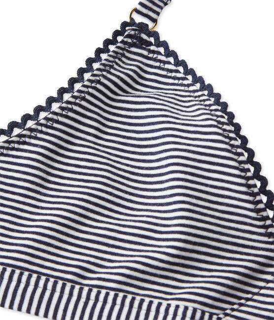 Women's second skin effect milleraies-striped bra Abysse blue / Lait white