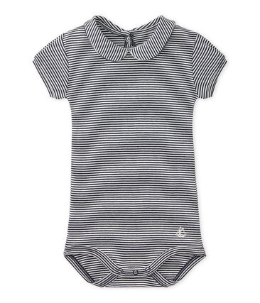 Baby girl's bodysuit with striped collar