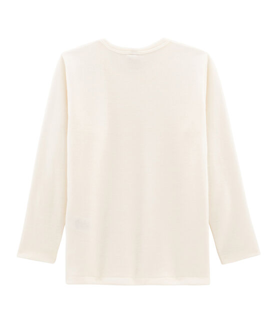 Children's Long-Sleeved Wool and Cotton T-Shirt Ecru beige
