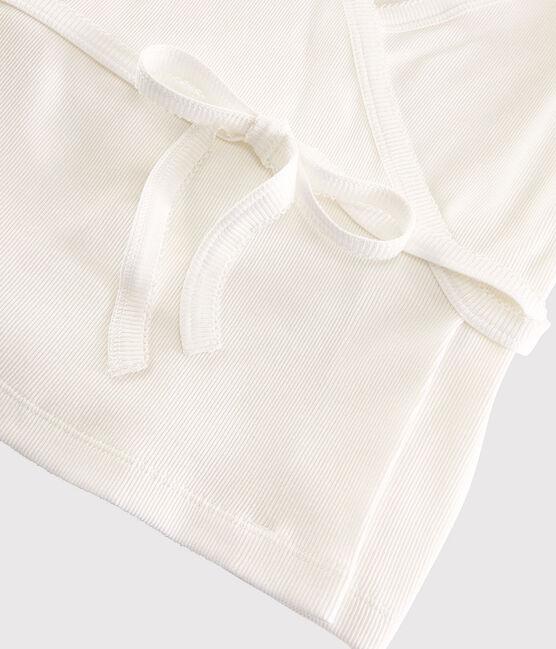Women's Fine Cotton Wrapover Cardigan Marshmallow white