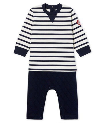 Baby Boys' Mock 2-Piece Long Jumpsuit Marshmallow white / Smoking blue