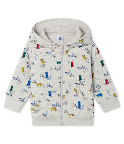 Baby Boys' Printed Fleece Hoody Beluga grey / Multico white