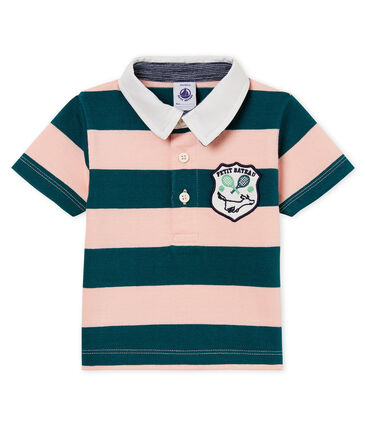 Baby boys' striped jersey polo shirt Pinede green / Rosako pink