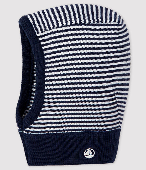 Baby's unisex stripy balaclava Smoking blue / Marshmallow white