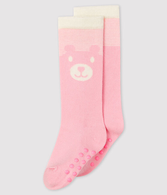 High-length baby socks Minois pink / Marshmallow white