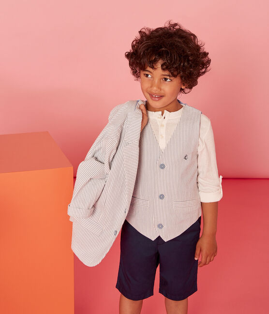 Boys' Sleeveless Jacket Fontaine blue / Marshmallow white