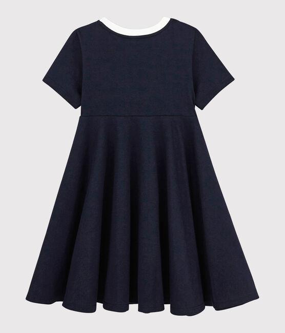 Girls' Short-Sleeved Jersey Dress Smoking blue