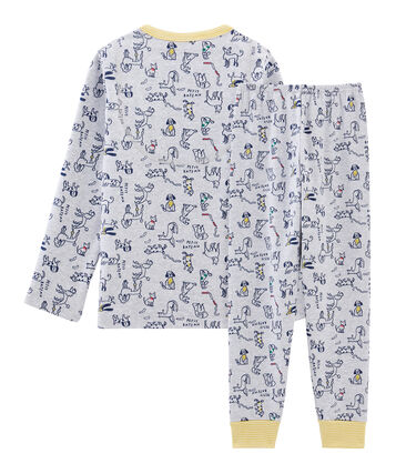 Boys' Ribbed Pyjamas Beluga grey / Multico white