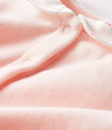 Baby Girls' Velour Sleepsuit Fleur pink