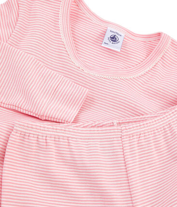 Girls' Snugfit Ribbed Pyjamas Charme pink / Marshmallow white