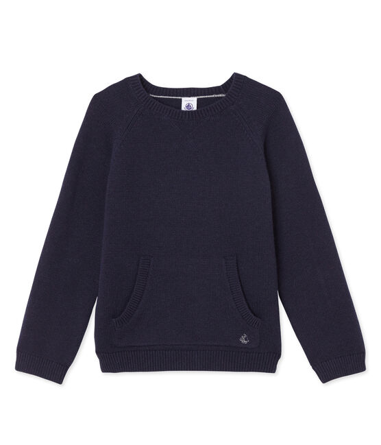 Boys' wool and cotton knit jumper Smoking blue
