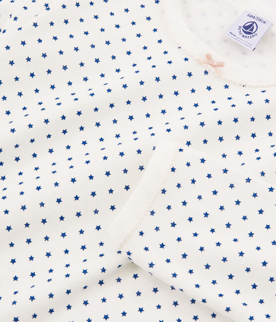 Girls' Ribbed Pyjamas Marshmallow white / Major Cn blue
