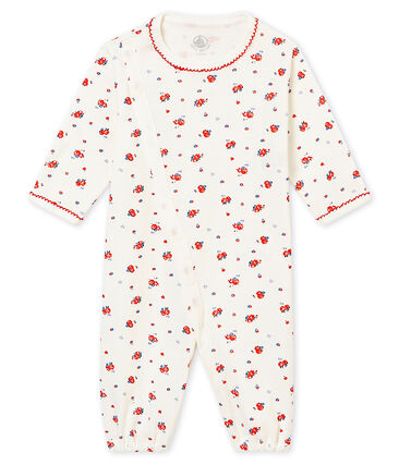 Baby girl's long sleeved combi sleepsuit in print soft cotton