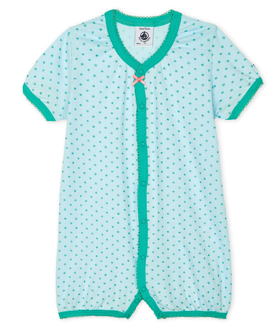 Baby Girls' Rib Knit Playsuit Amandier green / Esperanza Brillant green