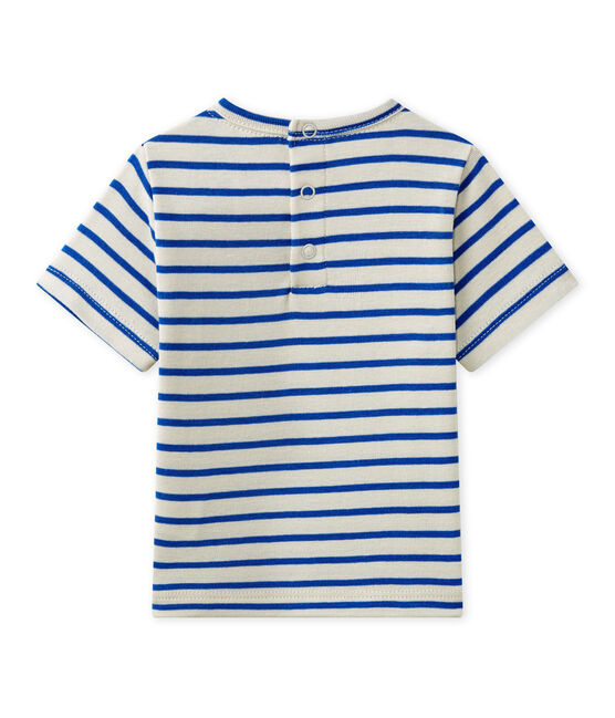 Baby boy's striped short-sleeved T-shirt Feta white / Perse blue