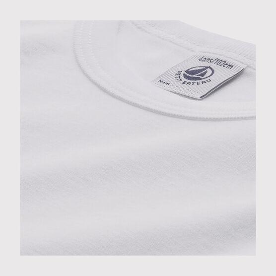 Set of 2 baby boys' long-sleeved white t-shirts . set