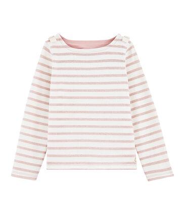 Girl's Sailor Top Marshmallow white / Joli Brillant pink
