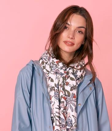 Women's printed scarf Marshmallow white / Multico white