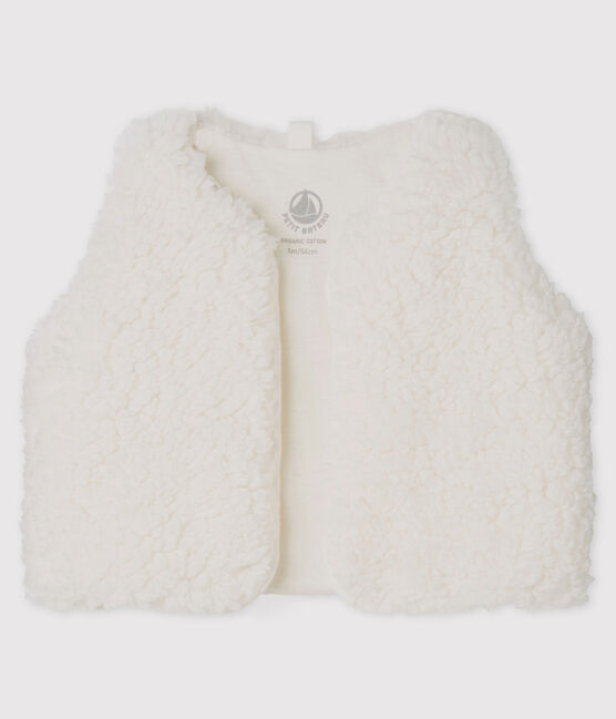 Baby Girls' Sleeveless Sherpa Vest Marshmallow white