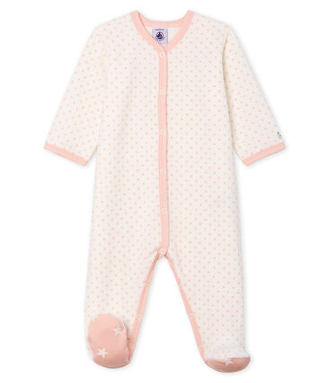 Baby Girls' Velour Sleepsuit Marshmallow white / Minois pink