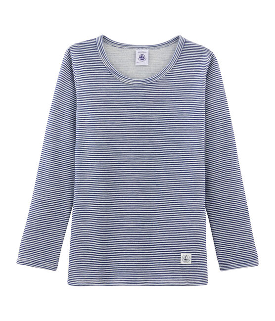 Children's Long-Sleeved Wool and Cotton T-Shirt Medieval blue / Marshmallow white