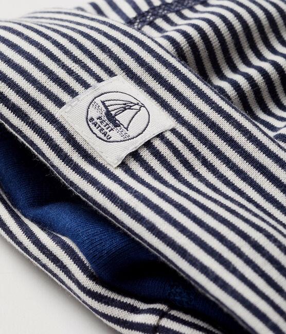 Newborn bonnet with anti-electromagnetic wave protection Smoking blue / Ecume white
