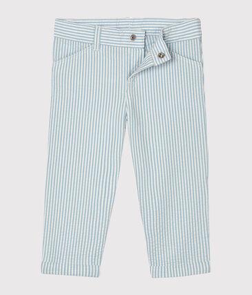 Baby Boys' Seersucker Trousers Acier blue / Marshmallow white