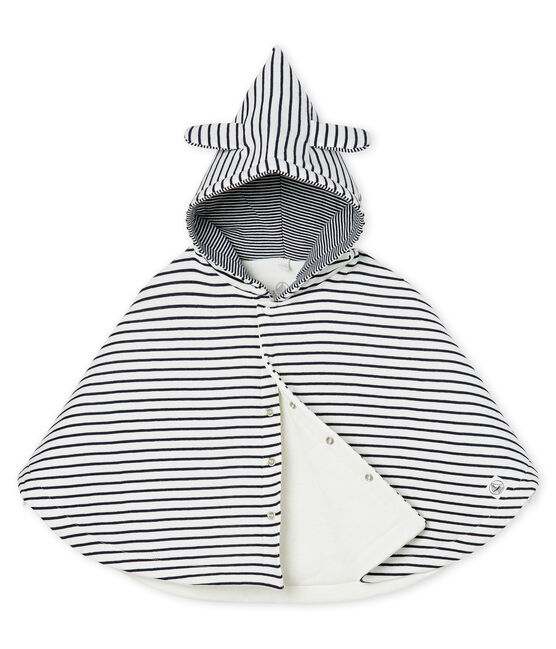 Babies' Classic Wrap in Padded Rib Knit Marshmallow white / Smoking blue