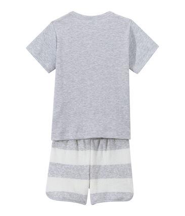 Boy's two-fabric shortie pyjamas Poussiere grey / Lait white