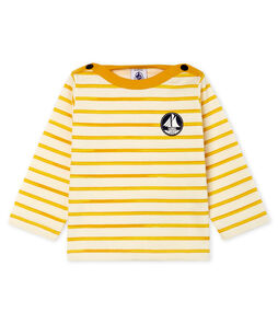 Baby Boys' Striped Long-Sleeved T-Shirt Marshmallow white / Boudor yellow