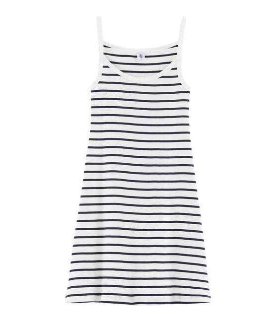 Women's strappy dress Marshmallow white / Smoking blue