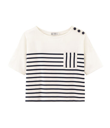 Women's short-sleeved stripy breton top