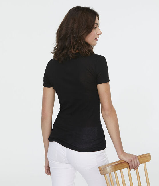 Women's Light Ribbed T-Shirt Noir black