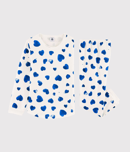 Girls' Blue Hearts Fleece Pyjamas Marshmallow white / Bleu blue
