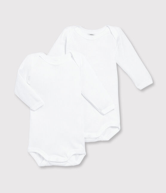 Babies' White Long-Sleeved Bodysuits - 2-Pack Marshmallow white