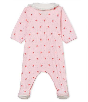 Baby girls' sleepsuit in printed 1x1 rib knit