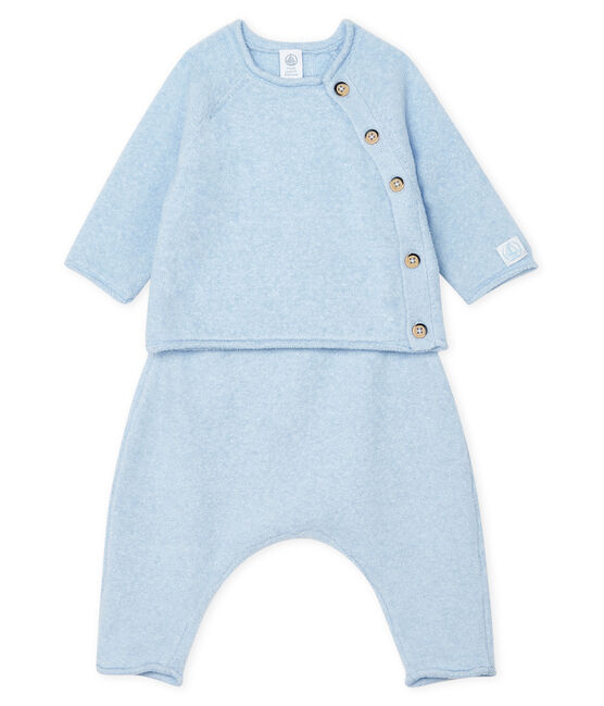 Babies' Clothing in Cotton/Merino Wool/Polyester - 2-Piece Set Toudou blue