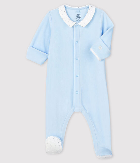 Babies' Blue Organic Cotton Velour Sleepsuit with Collar Fraicheur blue