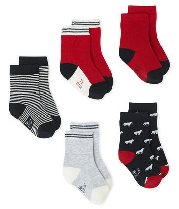 Baby Boys' Socks - 5-Piece Set Smoking blue / Multico white