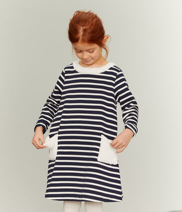 Girl's Long-sleeved Dress Smoking blue / Coquille beige