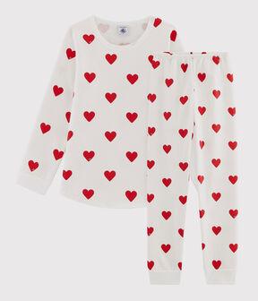 Children's Hearts Print Fleece Pyjamas Marshmallow white / Terkuit red