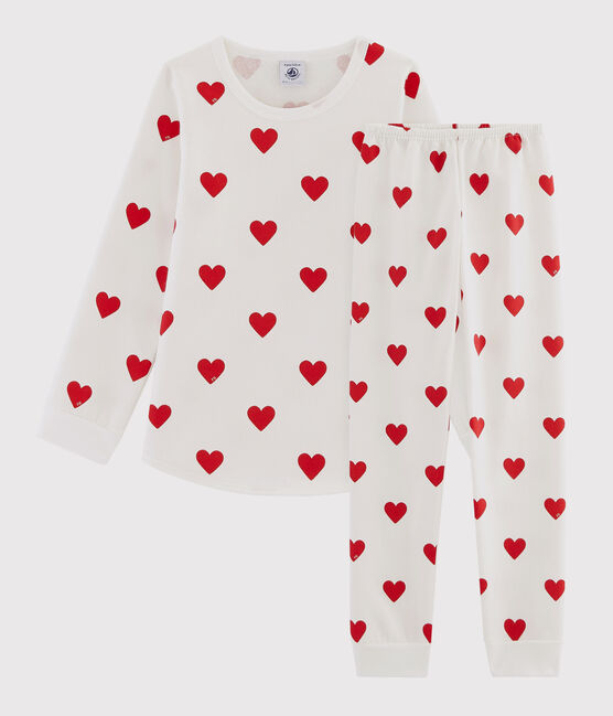 Children's Hearts Print Fleece Pyjamas Marshmallow white / Terkuit red