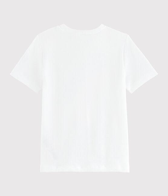 Girls' silkscreen print T-shirt Ecume white