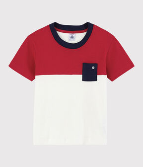 Boys' Short-Sleeved Cotton T-Shirt Terkuit red / Marshmallow white
