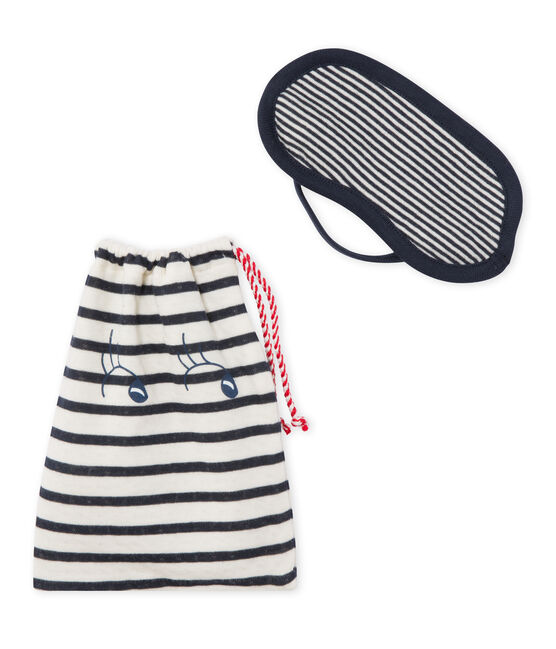 Set of sleep mask and drawstring bag in tube knit Smoking blue / Coquille beige